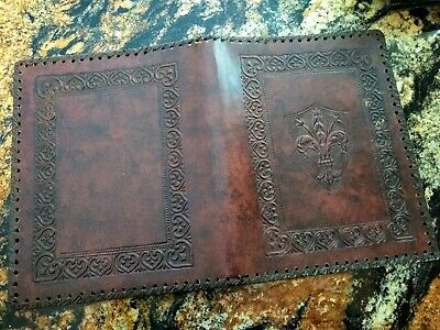 VINTAGE ITALIAN EMBOSSED TOOLED LEATHER BOOK COVER 8x10 EXCELLENT FLEUR DE LIS