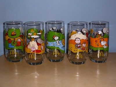 "5 Vintage Camp Snoopy Collection Peanuts Glasses Mcdonald's Promotional 6"" Tall"