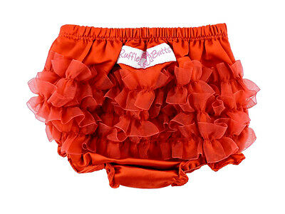Ruffle Butts Baby Size 3-6 Months Satin Red Diaper Cover