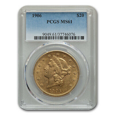 1906 $20 Liberty Gold Double Eagle MS-61 PCGS - SKU#187613