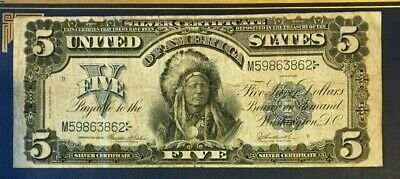 """1899 $5 Five Dollar Silver Certificate, Indian Chief """"Running Antelope"""", Fine/Vf"""