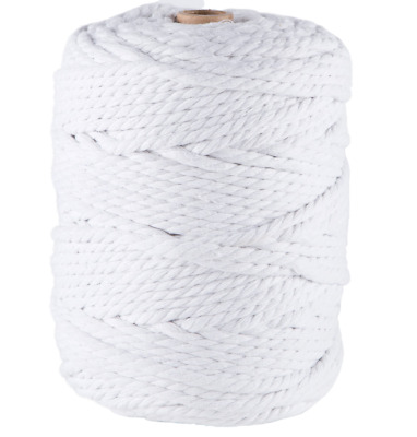 5mm white macrame rope 1kg 125m coloured 3ply cotton cord string strand twisted
