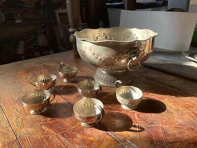 antique Silver On Copper Punch Bowl And Cups