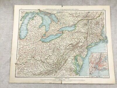 1899 Antique Map of North America New York State USA 19th Century GERMAN