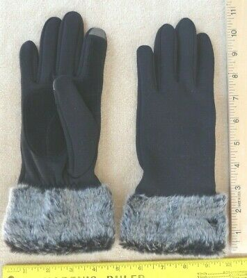 Touchpoint Women's Black Knit Gloves w/ Gray Faux Fur Cuffs Electronics tips NEW