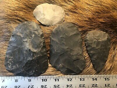 "5•12•1 Biface 15"" Black Dover Buffalo Flint Knapping Point Arrowhead Preform"