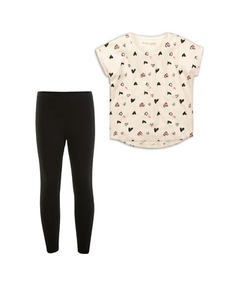 Girls  Heart Print Top & Legging Set Ages 3,4,5,6,7,8 Years NEW