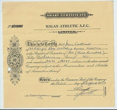 share certificate 1987 Wigan Athletic A.F.C. (Amateur Football Club)