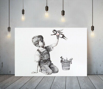 Banksy Nhs Heroes - Deep Framed Canvas Wall Art Graffiti Print - Black And White