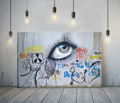 Banksy Street Eye- Deep Framed Canvas Wall Art Graffiti Print- Black Red Yellow