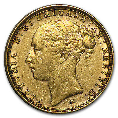 1872-1887-M Australia Gold Sovereign Young Victoria Avg Circ - SKU #71214