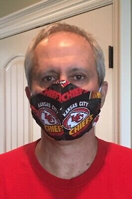 KC Chiefs Fabric Black Retro Cotton Face Mask with 3 Layers and Elastic