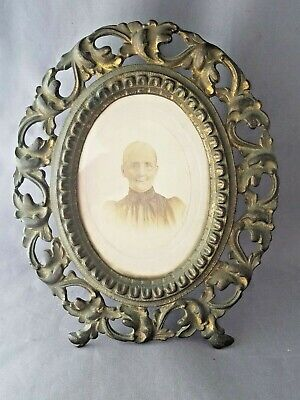 Vintage Cast Iron Picture Frame with Photo and Glass