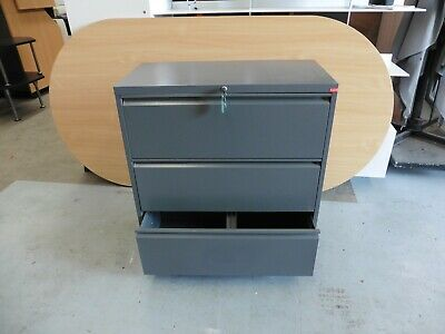 Office 3 X Drawer Charcoal Grey Lateral Filing Cabinet Brisbane