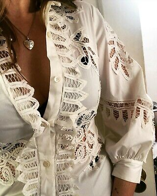 OSCAR DE LA RENTA White GUIPURE LACE Button Down BALLOON Sleeve Shirt BLOUSE M