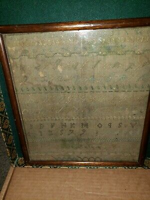 Antique 19th c. Sampler Schoolgirl Embroidery  Signed and dated 4 13 1879