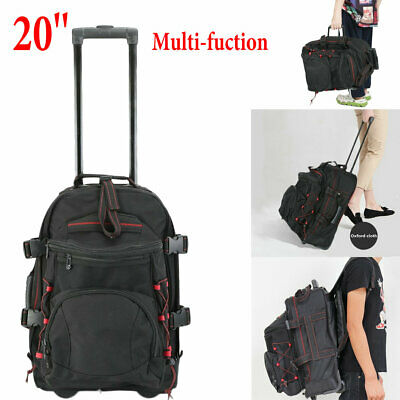 Men Rolling Wheeled Duffle Trolley Bag Tote Carry On Travel Suitcase Luggage