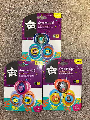 Brand New - Tommee Tippee Day & Night 3 Pack Pacifiers [0-6m] BPA Free - SEALED