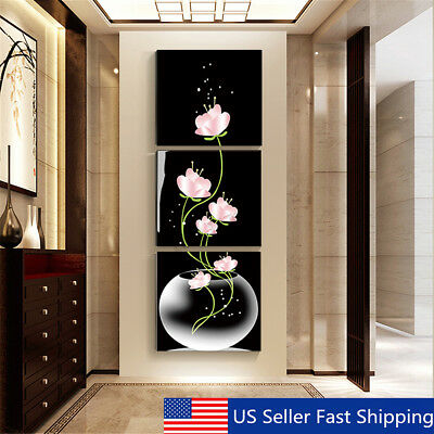 3Pcs Modern Abstract Flower Art Canvas Painting Print Wall Picture Home Decor a