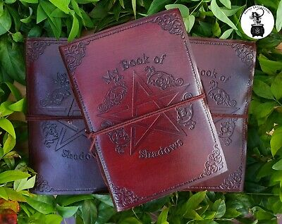 MY BOOK OF SHADOWS Pentagram Brown Leather Pentacle Journal Notebook Diary Wicca
