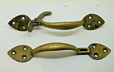 2 x Antique Victorian beautiful gothic style brass door handles