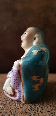 Stunning Antique Chinese Famille Rose Porcelain Laughing Buddha 55mm high