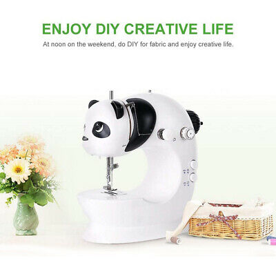 Portable Electric Hand Sewing Machine Mini Double Needle 2 Speeds Foot Pedal