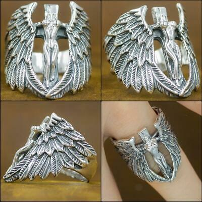 Details about  /GREEK GOD VICTORY ANGEL CROSS WING 925 STERLING SOLID SILVER MENS RING US 13.5