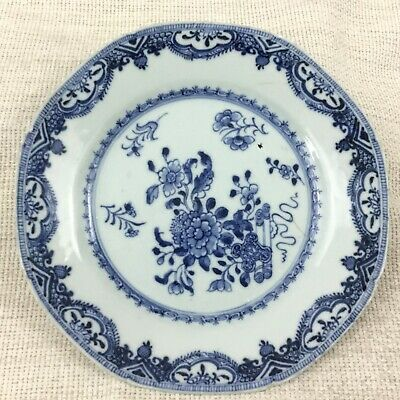 Antique Chinese Export Porcelain Plate Hand Painted Blue and White China AF