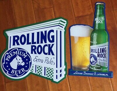 Lot Of 2 Rolling Rock Extra Pale Beer Metal Tin Bar Pub Signs!
