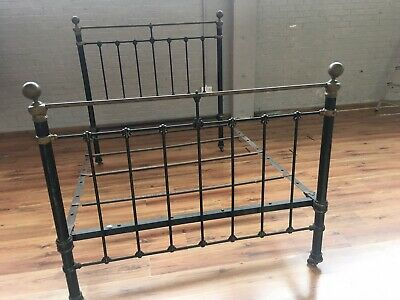 Vintage Antique Cast-Iron Double Bed with Brass Fittings.
