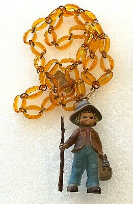 Vintage hand painted early plastic figurine & lucite chain necklace Hong Kong #2