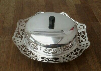 Vintage - Butter Dish - Manco - Silver Plated & Glass Insert & Silver Plated Lid