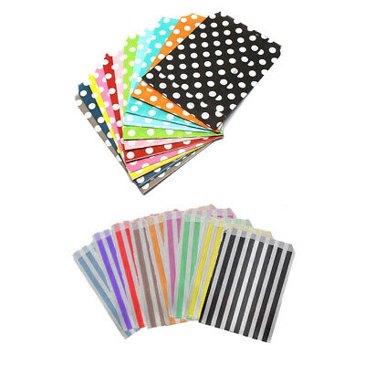 "Paper Party Bag Polka Dot Stripe 7"" x 9"" Sweet Pick And Mix Birthday Candy Cart"