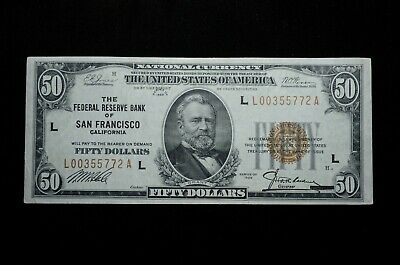 1929 $50 National Currency The Federal Reserve Bank of San Francisco (otx204)