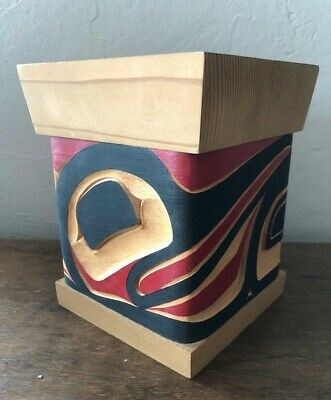 Native American Bentwood Box Folk Art Haida signed