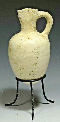 Genuine Ancient Holy Land Bronze Age Terracotta White slip painted Juglet