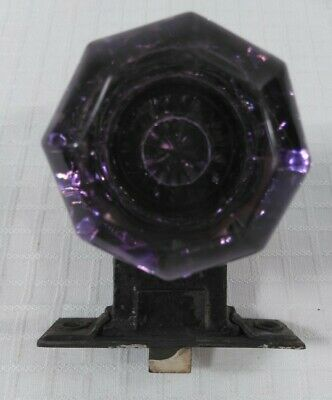 Vintage Sager Antique 8 Point Glass Door Knob Hardware Purple Amethyst Lavender