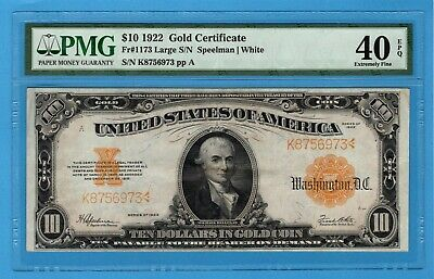 Fr. 1173 1922 $10 Gold Certificate PMG Extremely Fine 40 EPQ