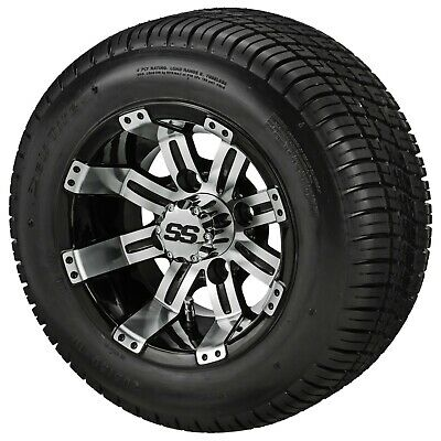 (4)205/50-10 DOT LOW PROFILE Tire on 10x7 Blk/Mach Tempest Wheel  Free Freight