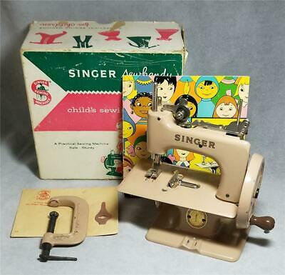 Vtg Singer Model 20 Sew Handy Toy Sewing Machine w/Box, Instructions & Clamp