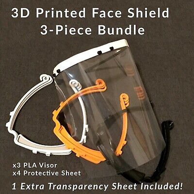 (3 PACK) CLEAR FACE SHIELD Face Mask Eye Protection PPE 3D Printed Medical USA