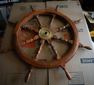 "36"" Ship's Wheel (HSE)Brass & Wood Nautical Pirate Decor Steering Helm Sail Boat"