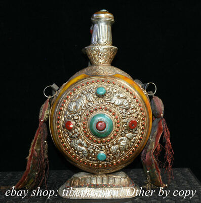 "14"" Old Tibet Silver Beeswax Gemstone Buddhism Phoenix Beast Snuff Bottle"
