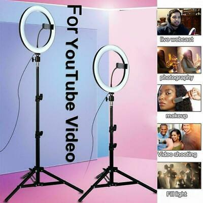 """10"""" LED Ring Light Stand Kit Dimmable Photo Studio Selfie Phone Live Lamps"""