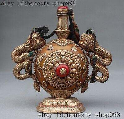"""8""""collect Old Tibet Silver Beeswax Coral Dragon beast statue Snuff Bottle jar"""