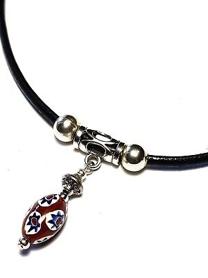 Black Real Leather Cord Choker Charm Necklace Pendant Retro Hippy Tibetan Silver