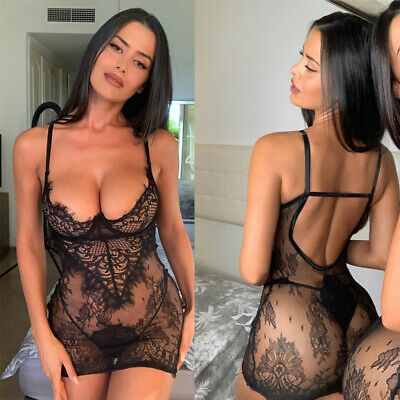 Sexy Womens Nightgown Lingerie Lace Babydoll Nightdress G-string Thong Nightwear