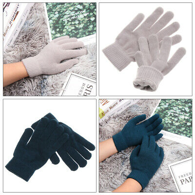 Thermal Wrist Warmer Mittens Full Fingered Gloves Wool Knitted Plush Lining