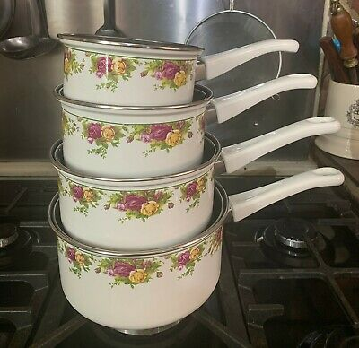 Royal Albert Set Of Metal Pans X 4 New From 2007